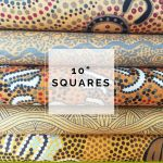 "Aboriginal Art Fabric 10 pieces 10"" Squares Layer Cake Pack - Gold Colourway by M & S Textiles Australian Aboriginal Art Fabrics - OzQuilts"