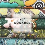 "Aboriginal Art Fabric 10 pieces 10"" Squares Layer Cake Pack - Green by M & S Textiles 10"" Squares - OzQuilts"