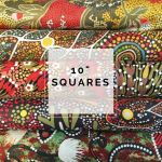 "Aboriginal Art Fabric 10 pieces 10"" Squares Layer Cake Pack - Green & Red by M & S Textiles Australian Aboriginal Art Fabrics - OzQuilts"