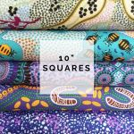 "Aboriginal Art Fabric 10 pieces 10"" Squares Layer Cake Pack -  Purple & Green by M & S Textiles Australian Aboriginal Art Fabrics - OzQuilts"