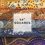 "Aboriginal Art Fabric 10 pieces 10"" Squares Layer Cake Pack - Purple Yellow Colourway by M & S Textiles Australian Aboriginal Art Fabrics - OzQuilts"