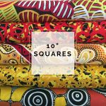 "Aboriginal Art Fabric 10 pieces 10"" Squares Layer Cake Pack - Red & Yellow by M & S Textiles Australian Aboriginal Art Fabrics - OzQuilts"