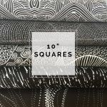"Aboriginal Art Fabric 10 pieces 10"" Squares Layer Cake Pack - Black Colourway by M & S Textiles 10"" Squares - OzQuilts"