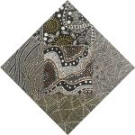 """Aboriginal Art Fabric 20 pieces 5"""" Square Charm Pack - Black, White & Gold by M & S Textiles 5"""" Squares - OzQuilts"""