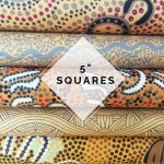"Aboriginal Art Fabric 20 pieces 5"" Square Charm Pack - Gold Colourway by M & S Textiles 5"" Squares - OzQuilts"