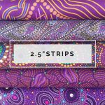 "Aboriginal Art Fabric 10 Pieces 2.5"" Strips Jelly Roll pack - Purple Glow by M & S Textiles Australian Aboriginal Art Fabrics - OzQuilts"
