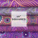 "Aboriginal Art Fabric 10 pieces 10"" Squares Layer Cake Pack - Purple Glow by M & S Textiles 10"" Squares - OzQuilts"