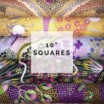 "Aboriginal Art Fabric 10 pieces 10"" Squares Layer Cake Pack - Purple & Gold by M & S Textiles Australian Aboriginal Art Fabrics - OzQuilts"