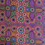 "Aboriginal Art Fabric 20 pieces 5"" Square Charm Pack - Purple Glow by M & S Textiles 5"" Squares - OzQuilts"