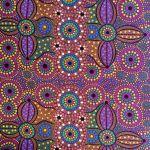Spirit Place Burgundy Australian Aboriginal Art Fabric by Bernadette Wallace by M & S Textiles Cut from the Bolt - OzQuilts