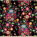 Black Owl & Flowers Fabric from Feathers & Foliage by Pink Chandelier Collection by Wilmington Prints Quilting Cotton Fabrics - OzQuilts