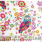 White Owl & Flowers Fabric from Feathers & Foliage by Pink Chandelier Collection by Wilmington Prints Quilting Cotton Fabrics - OzQuilts