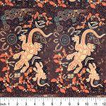Man & Goanna in Brown Australian Aboriginal Art Fabric by Gary Reid by M & S Textiles Cut from the Bolt - OzQuilts