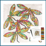 The Modern Dragonfly Quilt Kit Includes Fabric and Pattern - White by JoAnn Hoffman Kits - OzQuilts