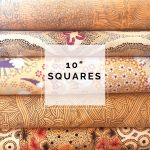 "Aboriginal Art Fabric 10 pieces 10"" Squares Layer Cake Pack - Light Gold Colourway by M & S Textiles 10"" Squares - OzQuilts"