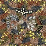 Bush Tucker Dreaming in Brown Australian Aboriginal Art Fabric by Audrey Martin Napanangka by M & S Textiles Cut from the Bolt - OzQuilts