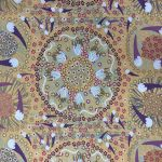 Bush Banana in Plum & Gold Australian Aboriginal Art Fabric by Laura Taniels by M & S Textiles Cut from the Bolt - OzQuilts