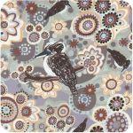 Kookaburra Gray Australian Aboriginal Art Fabric by Samantha James by M & S Textiles Cut from the Bolt - OzQuilts