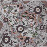 Running Possum Vine Gray Australian Aboriginal Art Fabric by Nambooka by M & S Textiles Cut from the Bolt - OzQuilts