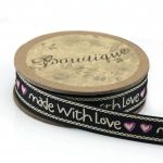 """Printed Ribbon """"Handmade with Love"""" 15mm wide x 5 metres by Bowtique Bag Making Ribbon  - OzQuilts"""