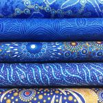 Aboriginal Art Fabric 5 Fat Quarter Bundle - Blue Gold Colourway by M & S Textiles Fat Quarter Packs - OzQuilts