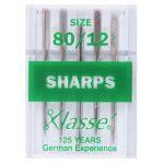 Klasse Sharps Machine Needles Size 80/12 by Klasse Sewing Machines Needles - OzQuilts
