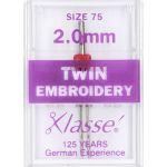 Klasse Embroidery Twin Machine Needle Size 75 2.00mm by Klasse Sewing Machines Needles - OzQuilts