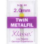 Klasse Metafil/Embroidery Twin Machine Needle Size 80/12 2.00mm by Klasse Sewing Machines Needles - OzQuilts