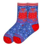 Denim Crimson Cat Crew Socks