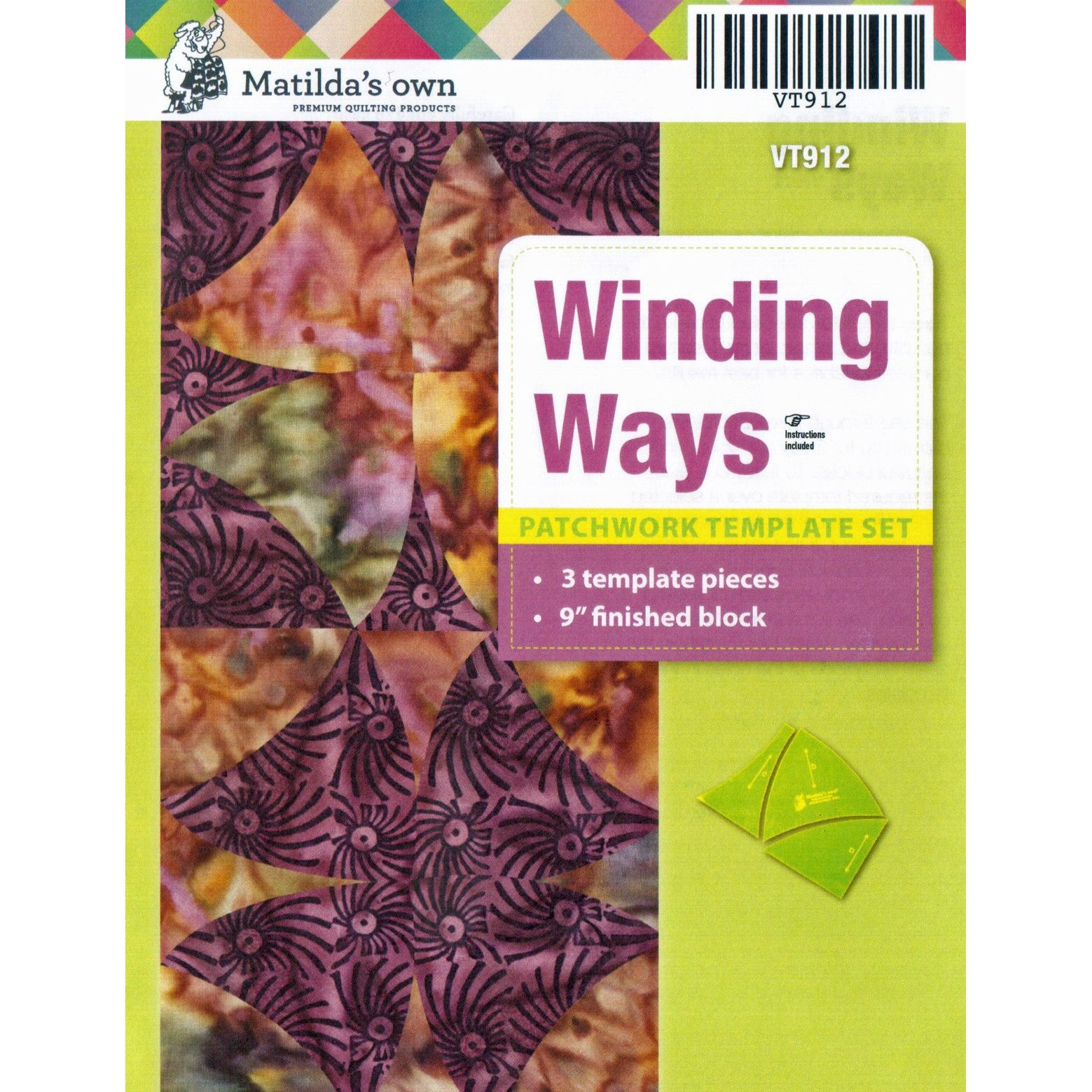 "Matilda's Own Winding Ways 9"" Patchwork Template Set By"