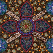 Stella Black Australian Aboriginal Art Fabric by Cathy Turner by M & S Textiles Cut from the Bolt - OzQuilts