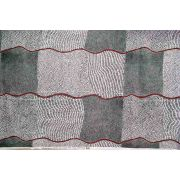 Bush Onion Dreaming Black Australian Aboriginal Art Fabric by Jean Nampajinpa Hudson by M & S Textiles - Cut from the Bolt