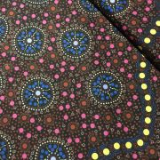 Dreamtime Flowers Black Australian Aboriginal Art Fabric by Letisha Doolan by M & S Textiles - Cut from the Bolt