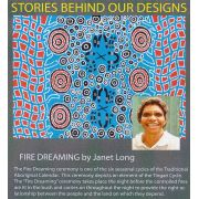 Fire Dreaming Blue Australian Aboriginal Art Fabric by Janet Long by M & S Textiles - Cut from the Bolt