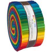 "Kona Cotton Roll Up Classic Palette  2.5"" Strips x 40 Pieces by Robert Kaufman Fabrics Kona Cotton - OzQuilts"