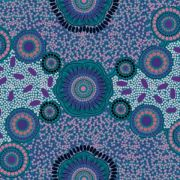 Meeting Places Blue Australian Aboriginal Art Fabric by Josie Cavanagh by M & S Textiles - Cut from the Bolt