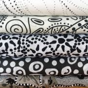 """Aboriginal Art Fabric 10 pieces 10"""" Squares Layer Cake Pack - Black & White Colourway by M & S Textiles 10"""" Squares - OzQuilts"""