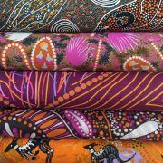 "Aboriginal Art Fabric 10 pieces 10"" Squares Layer Cake Pack - Purple & Orange by M & S Textiles 10"" Squares - OzQuilts"