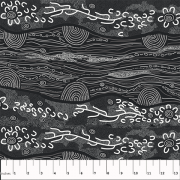 Sandy Creek Black by Janet Long Nakamarra by M & S Textiles - Cut from the Bolt