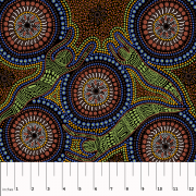 Winter Spirits Brown Australian Aboriginal Art Fabric by Faye Oliver by M & S Textiles - Cut from the Bolt