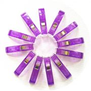 Quilter's Binding Clips - 12 Purple Clips by OzQuilts - Wonder Clips & Hem Clips