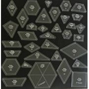 The New Hexagon 34 Piece Template Set by OzQuilts - OzQuilts Templates