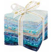 Aqua Spa Batik 20 Piece Fat Quarter Bundle by Robert Kaufman Fabrics - Batik