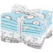 Penned Pals Cotton Flannel Baby Blue 10 Fat Quarter Bundle by Robert Kaufman Fabrics - Fat Quarter Packs