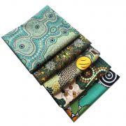 Aboriginal Art Fabric 5 Fat Quarter Bundle - Green by M & S Textiles - Fat Quarter Packs