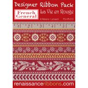 French General La Vie en Rouge Designer Ribbon Collection - 6 Yards by Renaissance Ribbons Bag Making Ribbon  - OzQuilts