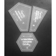 "La Valse Brillante Patchwork Templates - 1.5"" Inner Hexagon makes 6"" Hexagon Block - from Millefiori Book 1 by OzQuilts - Millefiori Book 1"
