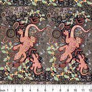 Man & Goanna in Black Australian Aboriginal Art Fabric by Gary Reid by M & S Textiles Cut from the Bolt - OzQuilts