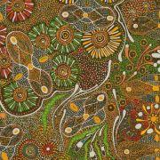 Bush Tucker After Rain Green Australian Aboriginal Art Fabric by Marlene Doolan by M & S Textiles Cut from the Bolt - OzQuilts