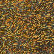 Bush Yam Green Australian Aboriginal Art Fabric by Jeannie Pitjara by M & S Textiles - Cut from the Bolt